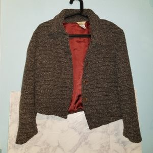 The Territory Ahead Tweed Wool Blazer Jacket M